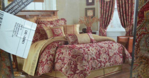 Luxury Bedding King Red Burgandy Gold Paisley Croscill