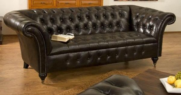 sofa 3sitzer chesterfield ii echtleder braun bild 1. Black Bedroom Furniture Sets. Home Design Ideas