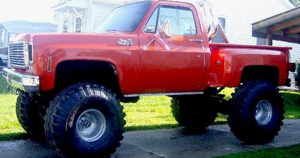 1986 chevy step side lifted mudder lift kit 4x4 red classic truck rides pinterest. Black Bedroom Furniture Sets. Home Design Ideas