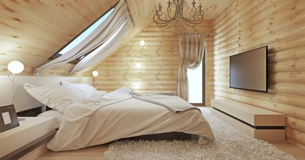 Log Home Attic Master Bedroom With Wood Walls And Ceiling Skylights Bring In Natural Light