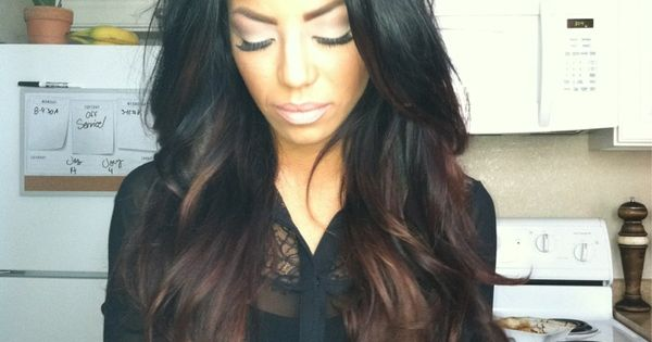 CHOCOLATE LATTE brunette black base ombre hair haircolor hairstyle hair everythinghair fallhair