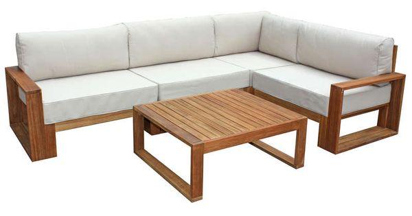 Salon d 39 angle de jardin 5 places table basse en acacia for Table de salon pas cher belgique