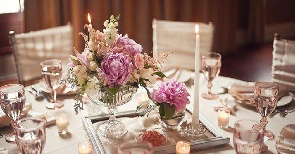 Tischdekoration als Hochzeitsdeko - Pfingstrosen in einem Vintage ...