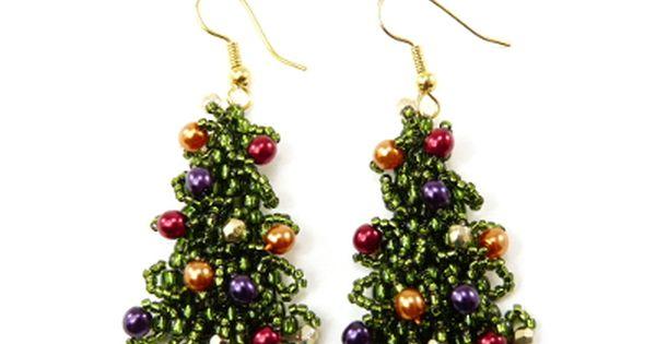 Beaded Christmas Tree Pendant Necklace Earrings Beading Jewelry ...