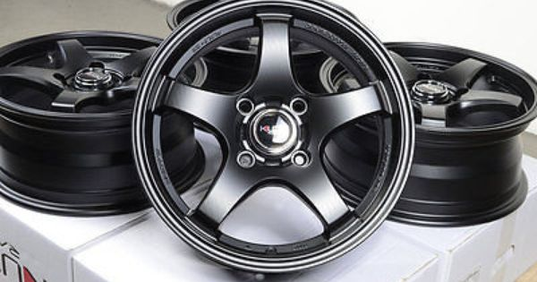 15 matt black kudo wheels rims 4 lugs honda civic accord. Black Bedroom Furniture Sets. Home Design Ideas