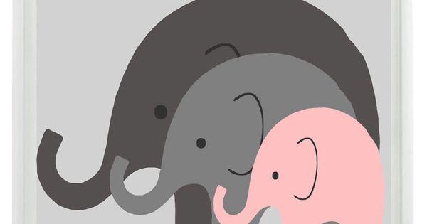 Dad-Mom-Baby Elephant Nursery Wall Art 8x10 - - Just need a big