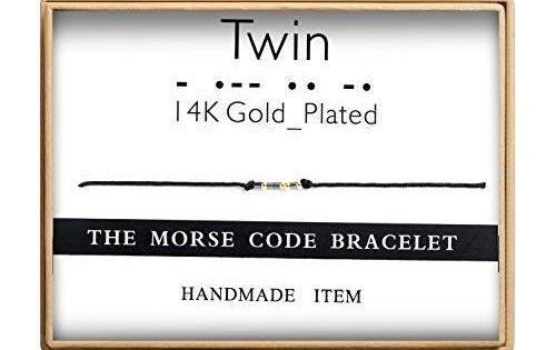 Ldurian Twin Morse Code Bracelet Secret Message Cuff Bracelet Engagement Gift with Gift Box