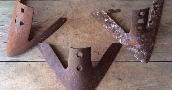 Set Of 3 Old Vintage Large Metal Plow Points Antique