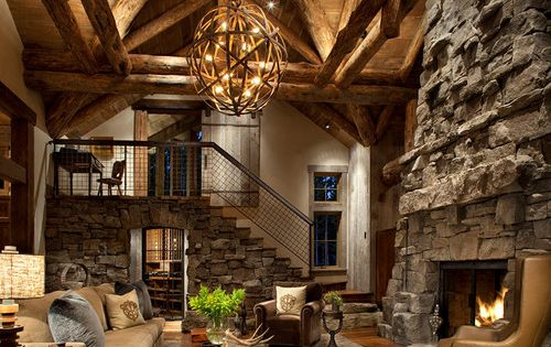 Vaulted great room in Colorado ski country. Highline Partners.