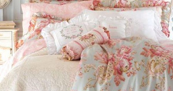 lovely shabby chic cream painted bed, cream matlisse bedspread, blue and pink