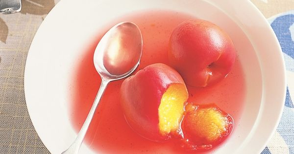 Poached peaches in white wine syrup | Recipe | White Wines, Syrup and ...