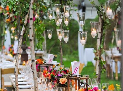 Garden party- flowers add vibrant colour to this gorgeous table setting, with