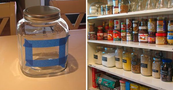 chalkboard paint + glass jars... Great idea for the craft room!