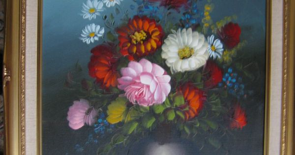 Vintage Flowers 🌼In A Vase Oil Painting Signed Still Life ...