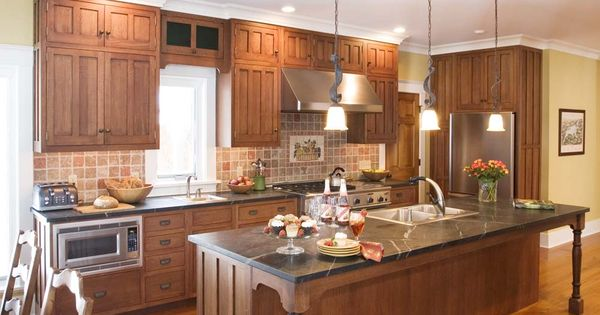 Tone Quartersawn Oak White Cabinets Kitchen