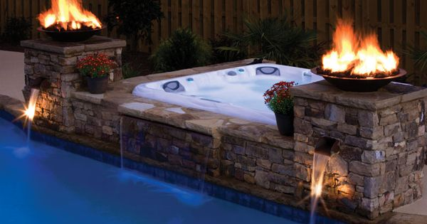Above Ground Hot Tub Built In Pool Outdoor Kitchen Plus