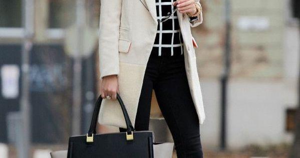 Women fashion clothing outfit style white coat handbag black pants leggings heels
