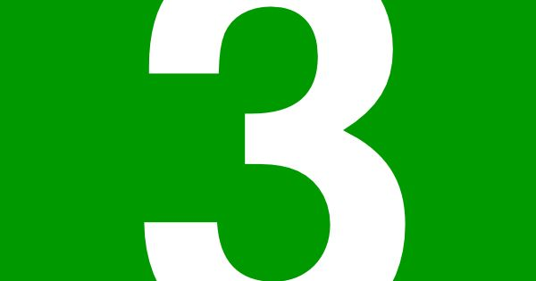 Number Three Green Square Rounded