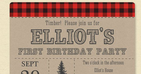 Our Lumberjack Birthday Party invite is perfect for your little loggers birthday
