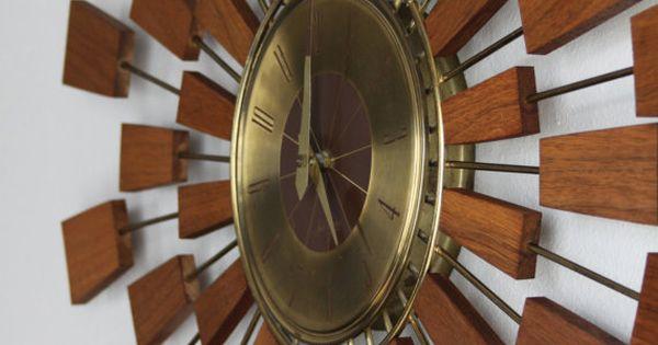 Teak Wood Atomic Wall Clock Mid Century Starburst Teak