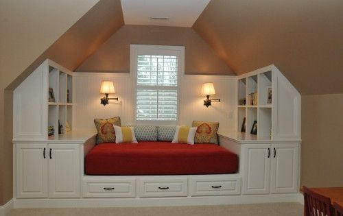 love this idea for an attic bedroom or guest room
