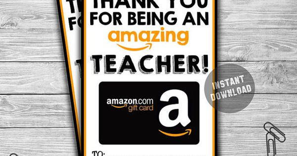 printable amazon gift card holder instant download thank you for being amazing teacher. Black Bedroom Furniture Sets. Home Design Ideas