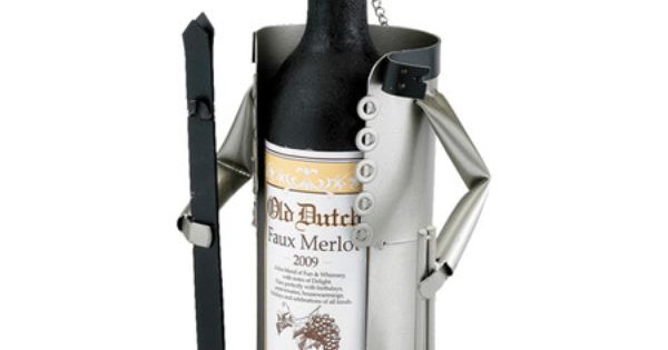 Steel wine bottle holder with skier silhouette product for Wine bottle material