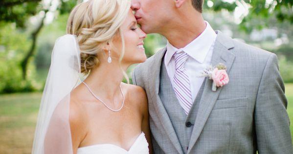 Blush and grey wedding. Blush wedding bouquet. Gray wedding suit. Kate Connolly