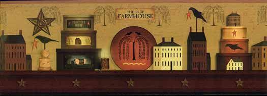 The Olde Farm House Wallpaper Border Home Wallpaper Wallpaper Border Wallpaper