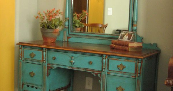 Love bright color painted furniture. home style