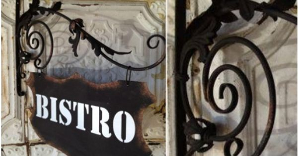 *HUGE* Hanging Double Sided Iron Bistro Sign - decor ...