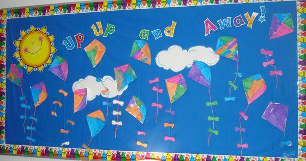 Craft Ideas For Classroom Decoration ~ Spring kites bulletin boards classroom decor pinterest