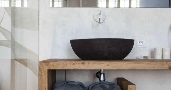 Waskom op houten blad badkamer inspiratie via la suite for Design planken badezimmer