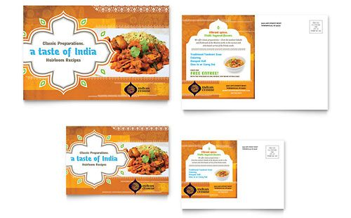 Indian Restaurant Postcard Template Design Sample Postcard Template Brochure Design Template Menu Card Design