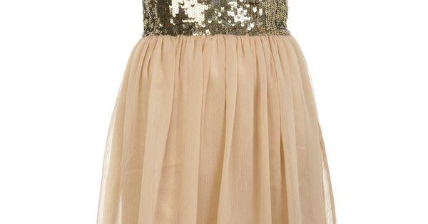 Vintage Sequined Chiffon Dress Sleeve Khaki SheInside