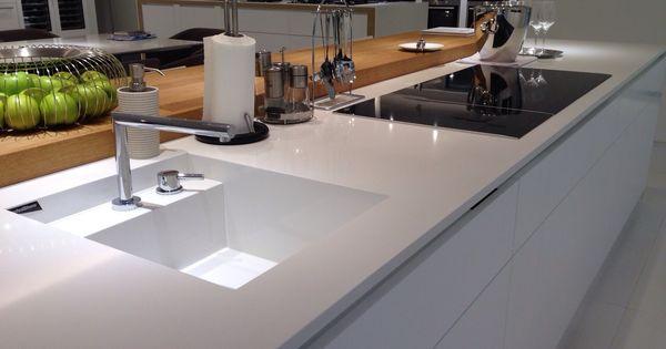 Technistone crystal absolute white sink kitchen for Kitchen design uckfield