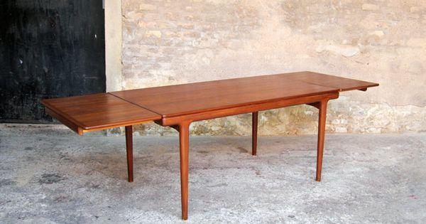 table manger vintage en teck rallonge scandinave. Black Bedroom Furniture Sets. Home Design Ideas
