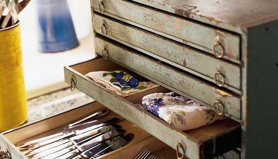 Turn of the century toolbox = dining room storage in shallow drawers
