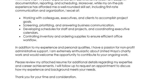 Administration & Office Support Cover Letter