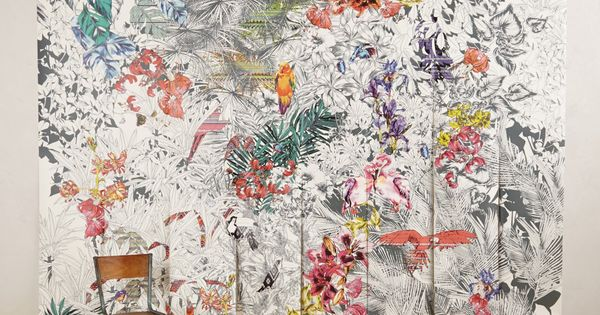 Birds of paradise mural wall floor for Anthropologie mural