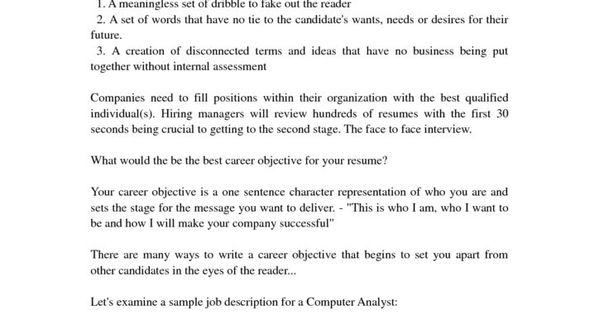 best career objective for resume with example regard inspiring - good objective to put on a resume