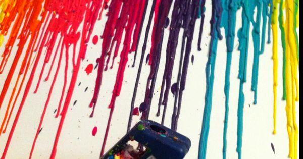- Rainbow DIY Art project - Run crayons through a hot gluegun