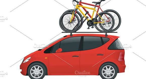Side View Flat Mini Car With Two Bicycles Mounted On The Roof Rack Flat Style Vector Illustration Isolated On White Background Mini Cars Roof Rack Kids Design