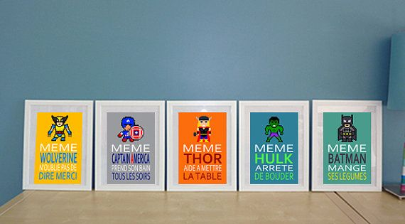 5 affiches superh ros et citation humoristique pour for Decoration murale pour salle de bain