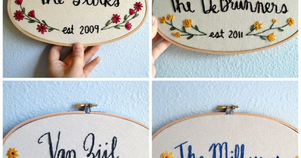 Linen Wedding Anniversary Gift Ideas: Family Name Embroidery Hoop, Custom Sign, Flowers