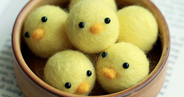 Needle Felted Little Baby Chicks Handmade - Container provided - New Years Gift. $20 ...