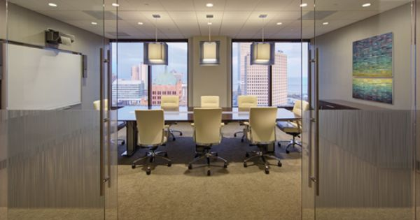 Conference Room With Sliding Glass Barn Doors