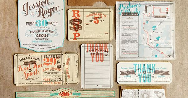 Lovely wedding suite - via Flourish Letterpress | Pinned by Rosen Weddings