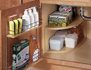 Under Sink Rounded Corner Shelf Diy Kitchen Shelves Under Kitchen Sinks Kitchen Sink Organization