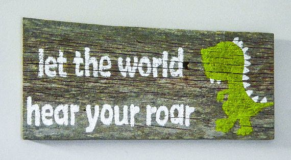 Reclaimed Barnwood Wall Art Hand-Painted Wood Sign Rustic Nursery Decor Dinosaur Art